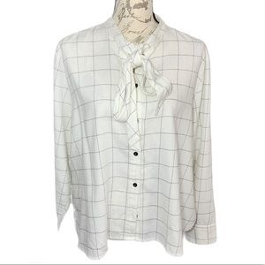 Madewell Cream Black Lined Button Down XXL